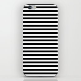 Midnight Black and White Horizontal Deck Chair Stripes iPhone Skin