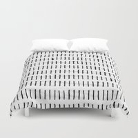 woodstock Duvet Covers featuring Black Ink Woodstock Pattern on White  by LacyDermy