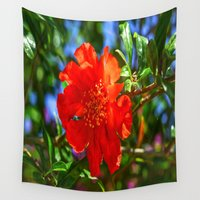 pomegranate Wall Tapestries featuring Pomegranate flower by Ricarda Balistreri