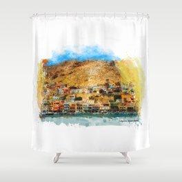 Kalymnos Greek Island Shower Curtain
