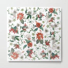 Festive Red Green Botanical Poinsettia Cactus Floral Pattern Metal Print