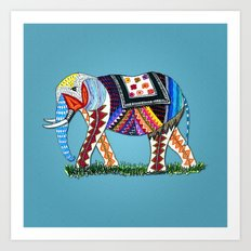 Hipster Elephant Art Print