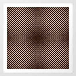 Black and Peach Cobbler Polka Dots Art Print