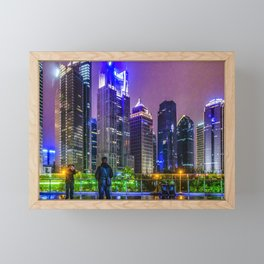 Lujiazui District Nigth Scene, Shanghai, China Framed Mini Art Print