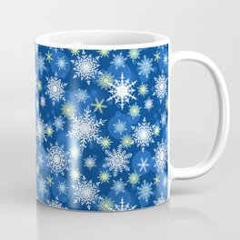 Christmas pattern. Lacy snowflakes on a blue background. Coffee Mug