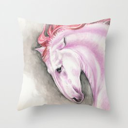Purple Pink Andalusian Horse Equine Watercolor Art Throw Pillow