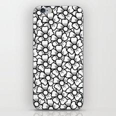 Floral White & Black Pattern iPhone Skin