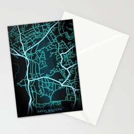 Great Malvern, England, Blue, White, Neon, Glow, City, Map Stationery Cards