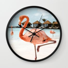 Pink Flamingo Art Print | Aruba Island, Caribbean Photo | Travel Photography Wall Clock