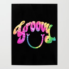 Groovy Smile // Tie-dye Black Fun Retro 70s Hippie Vibes Green Yellow Pink Lettering Typography Art Poster