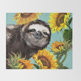 Sloth with Sunflowers Throw Blanket