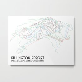 Killington, VT - Minimalist Trail Art Metal Print