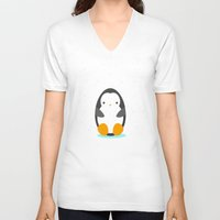 penguin V-neck T-shirts featuring Penguin by eDrawings38