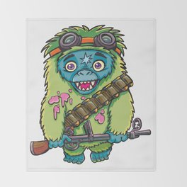 Green Monkey fighter Throw Blanket