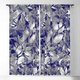 Grunge Art Silver Floral Abstract G169 Blackout Curtain