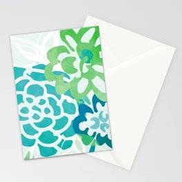 Greenery Abstract - Blue and Green Floral Stationery Cards