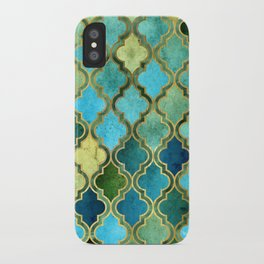 Moroccan Quatrafoil Pattern, Vintage Stained Glass, Blue, Green and Gold iPhone Case