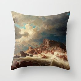 Marcus Larson - Stormy Sea With Ship Wreck Throw Pillow