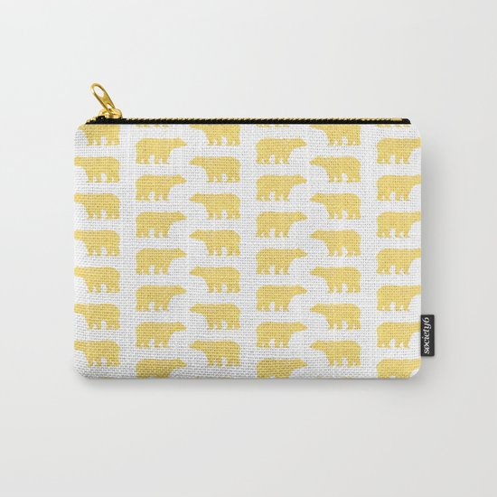 Gold Bears - foil glitter sparkle gold pattern print bear golf golfing nature trendy hipster sports Carry-All Pouch