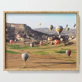 Hot air balloons flying over Cappadocia Serving Tray
