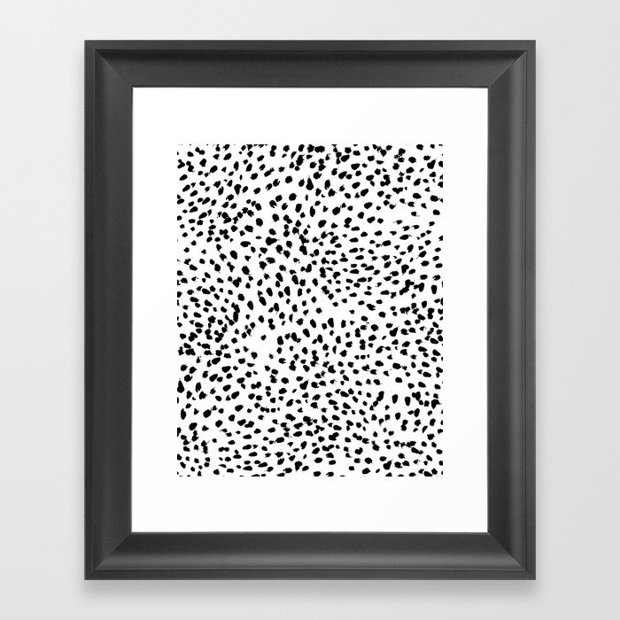 Nadia - Black and White, Animal Print, Dalmatian Spot, Spots, Dots, BW Gerahmter Kunstdruck