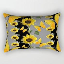 YELLOW BUTTERFLIES & SUNFLOWERS ART PANELS Rectangular Pillow