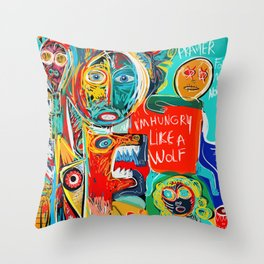 I'm hungry like a wolf Street Art Graffiti Throw Pillow