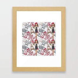 Paris Girl Bonjour Illustration Framed Art Print