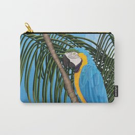 Macaw hanging on a tree in a tropical country Carry-All Pouch