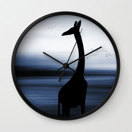 Giraffe and nature Wall Clock