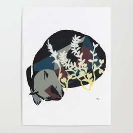 cat dreaming in meadow Poster