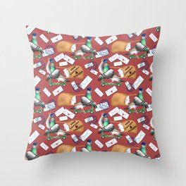 Pigeons Express (Rust Red Background) Throw Pillow