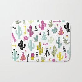 Cacti and teepee indian summer colorful boho cactus mix Bath Mat