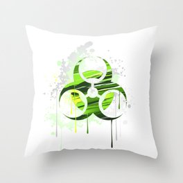 Symbol of Biological Danger Drawn with Paint Throw Pillow