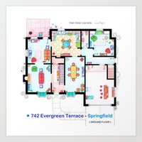 The house of Simpson family - Ground floor Art Print