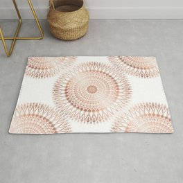 Rose Gold White Mandala Rug