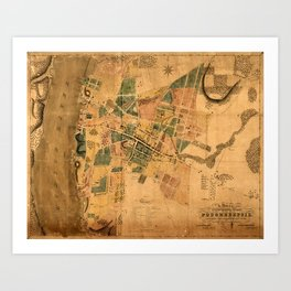 Map Of Poughkeepsie 1834 Art Print