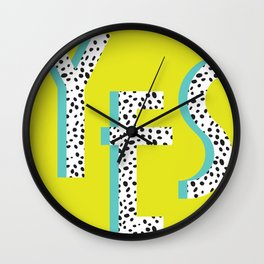 YES Poster | Lime Dalmatian Pattern Wall Clock