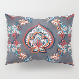 Floral Ogees in Red & Blue on Grey Pillow Sham