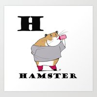 hamster Art Prints featuring Hamster by Dangerous Onion