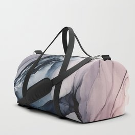 Blush, Navy and Gray Abstract Calm Clouds Duffle Bag