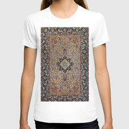 Central Persia Isfahan Old Century Authentic Colorful Golden Yellow Blue Vintage Patterns T-shirt