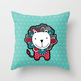 Doodle Lion on Aqua Triangle Background Throw Pillow
