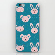 Dog, cat and bunny pattern iPhone & iPod Skin
