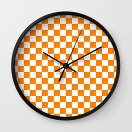 Small Checkered - White and Orange Wall Clock