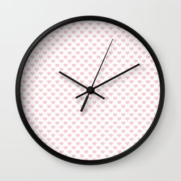 Large Millennial Pink Pastel Love Hearts On White Wall Clock