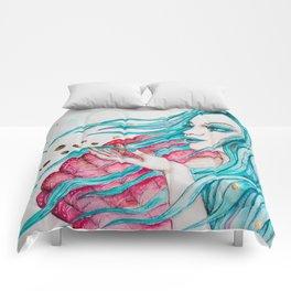 Watercolor mermaid fantasy art Comforters