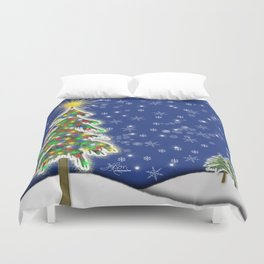 Lighted Christmas Tree at Night with Snowflakes Duvet Cover