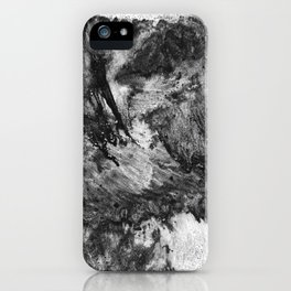 black white gray paint in monotype technique, abstract texture background for your design Imitation iPhone Case