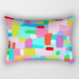 Bubble Gum Dream - abstract painting colorful modern lines dots pattern Rectangular Pillow